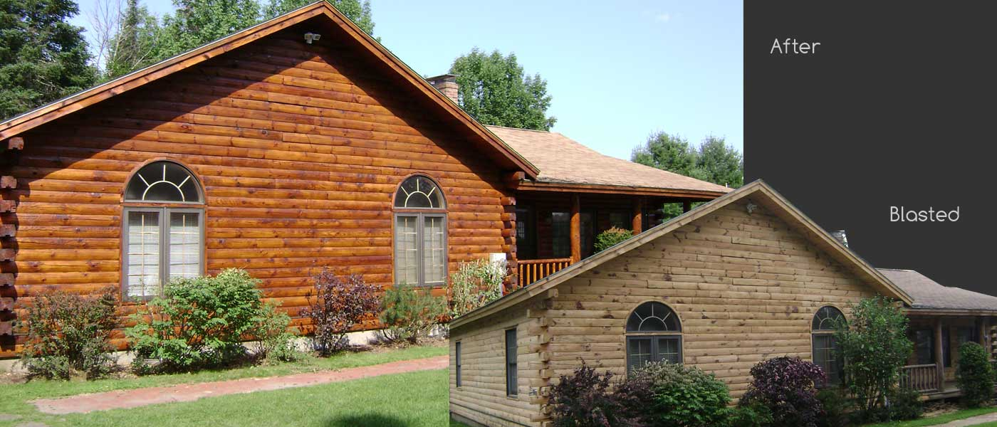 Log home before and after