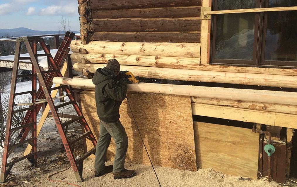 Log Replacement Wood Rot Repair Montana Log Cabin